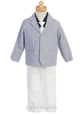 LITO Toddler Boys Striped Navy Blue White Suit 4 Pc Sailo...