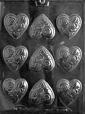 MEDIUM HEART WITH FLOWERS ROSE Chocolate Candy Soap molds party favors V96