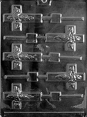- FLOWERED CROSS LOLLY POP mold Chocolate Candy plaster communion confirmation