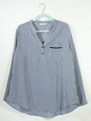 Youtalia houndstooth print 3/4 button sleeve blouse chiffon womens size XXL Houndstooth Print Blouse