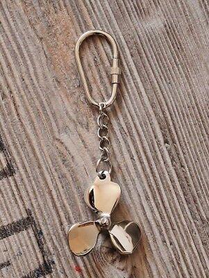 Schlüsselanhänger maritim Schiffsschraube ca.10 x Ø 5 cm Messing vernickelt