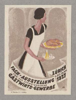 Art Deco Poster Stamp Swiss Hospitality Show 1920s Graphic Design Typography