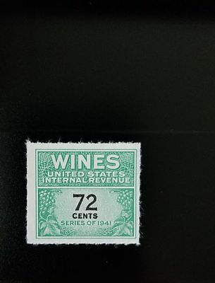 1942 72c U.S. Internal Revenue Cordial & Wine, Green Scott RE141 Mint F/VF NH