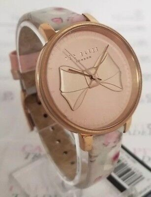 Ted Baker TE15197005 Women's 38mm Textured Bow Dial Rose Tone Floral Watch *NWT* ()