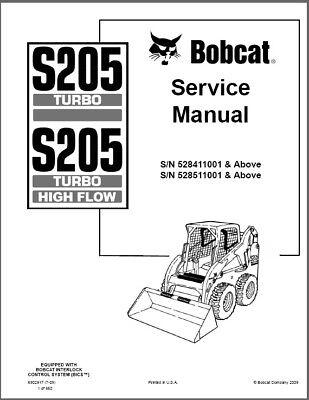 Bobcat S205 Turbo / S205 Turbo High Flow Skid Steer Loader Service Manual CD for sale  Woodstock