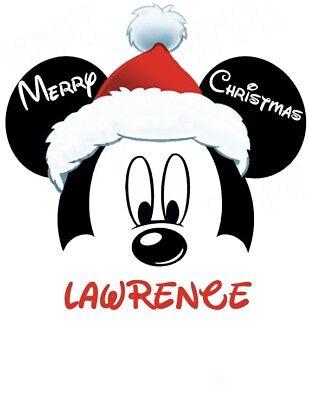 CHRISTMAS DISNEY MICKEY MOUSE*** PERSONALIZED****FABRIC/T-SHIRT IRON ON TRANSFER](Disney Christmas Shirts Personalized)