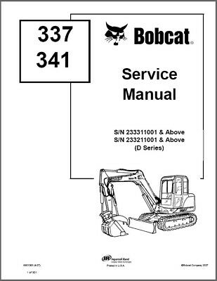 Bobcat 337 341 G D Series Compact Excavator Service Repair Manual On A Cd