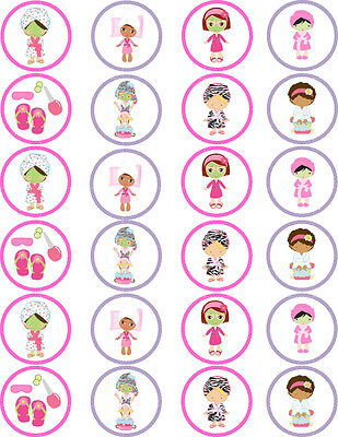 Spa Pamper Party Makeup Edible Cupcake / Fairy Cake Wafer Paper Toppers x 24](Spa Party Cakes)