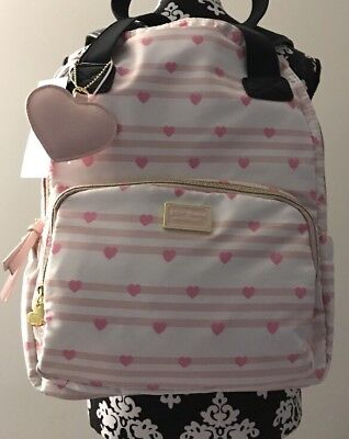 NWT Betsey Johnson 2 in 1 Pink Stripes Hearts Backpack Tote Book School Bag