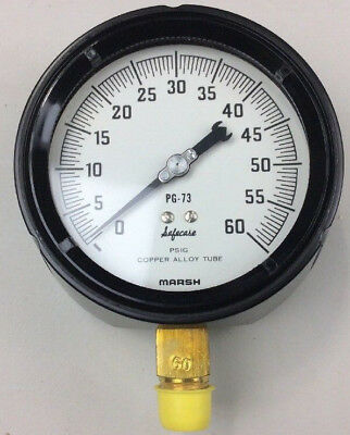 0-60 Psi Pressure Gauge 4-12 Face 12 Threaded Connection New