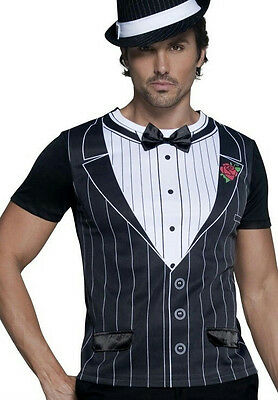 Fever Male Gangster Suit Tuxedo Costume Shirt Size Medium](Mobster Costumes Male)
