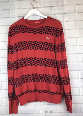 🍄 PUMA 🍄 Red & Black Retro Patterned Jumper Size L