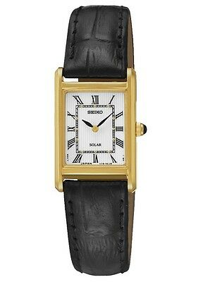 New Seiko SUP250 Solar Gold Tone Rectangular Black Leather Strap Ladies Watch