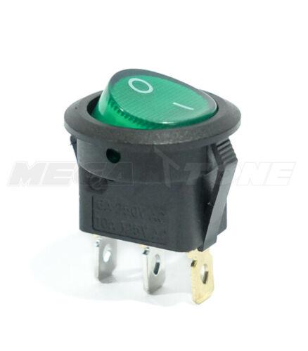 12VDC SPST 3-Pin ON/OFF Rocker Switch w/GREEN LED Lamp 10A/125VAC ~ USA SELLER!