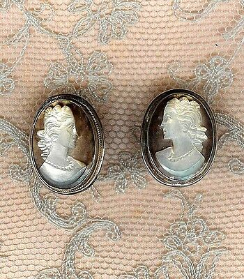 VINTAGE STERLING SILVER & CARVED SHELL CAMEO EARRINGS  SCREW BACK