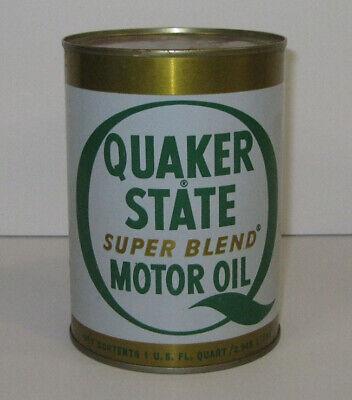 Vintage 1 Quart Metal Can of Quaker State Super Blend Motor Oil 10W-20W-30 HD