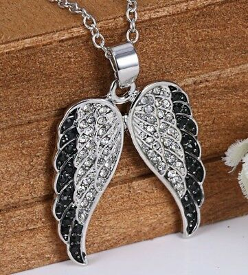 Silver Rhinestone Angel Wings Pendant Necklace w/Free Jewelry Box and Shipping (Angel Silver Jewelry Box)
