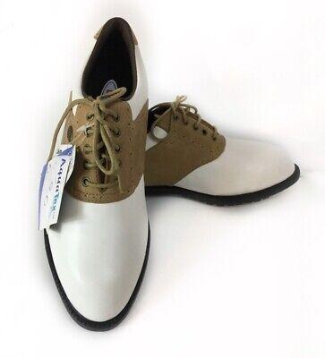 NWT Wilson Golf Shoes Youth Mens 7 Aqua Tex White Tan Saddle Tred Lite Cleats X