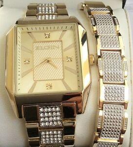 elgin mens gold watch elgin two tone men s watch set rectangle gold dial matching bracelet neat