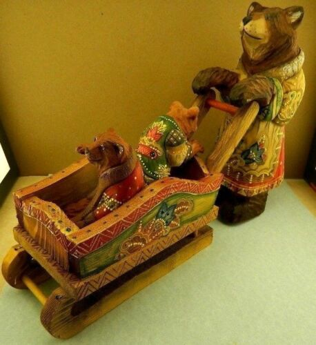 RUSSIAN CARVED HANDPAINTED WOODEN MAMA BEAR WITH KIDS