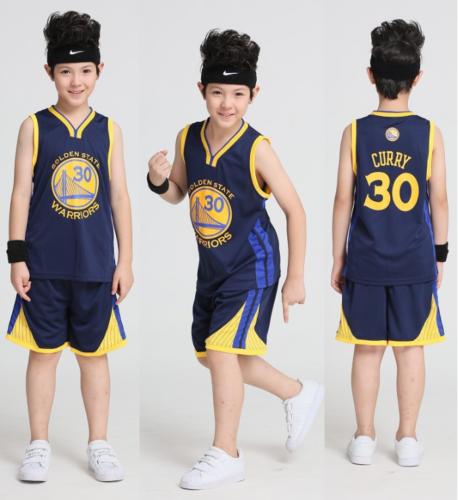 Jungen Basketball Trikots Set Jersey Golden State Warriors Stephen Curry #30 Neu