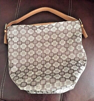 Nine West Mini Vegas Signs Cotton and Leather Taupe Tote Handbag