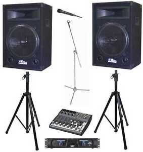 complete 3000 watt pa system 4 band church club speakers amp mixer effects ebay. Black Bedroom Furniture Sets. Home Design Ideas