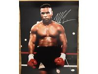 Signed Mike Tyson boxing photo 16x20