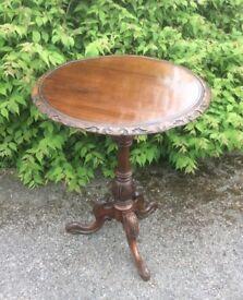 19th century Carved Walnut Tripod Coffee/Wine Table