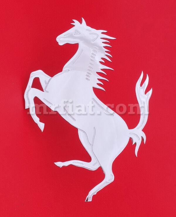 "Ferrari Front Grill Flat Prancing Horse Chrome Emblem 4 1/2"" New"