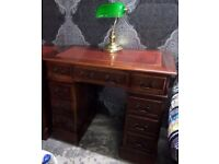 Stunning Chesterfield Small Double Pedestal Leather Top Desk - UK Delivery