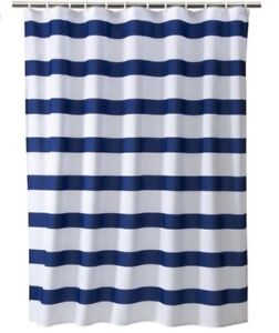 Target blue and white striped shower curtain