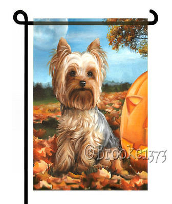 YORKIE painting GARDEN FLAG Dog Yorkshire Terrier AUTUMN FALL HALLOWEEN ](Yorkshire Halloween)