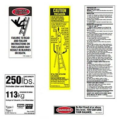 6 Pack Werner Lfs100-250 Fiberglass Step Ladder Safety Labels - 250lb Capacity