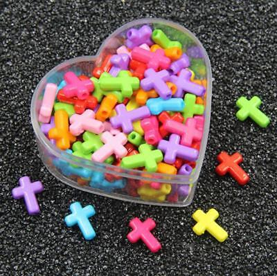 100X Mixed Color Acrylic cross Beads DIY baby Pacifier clip necklace Accessories Color Beads Pacifier Clip