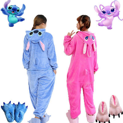Adult Unisex Animal Kigurumi Pajamas Costume Cosplay Blue/Pink Stitch Angel ](Angel Cosplay Costume)
