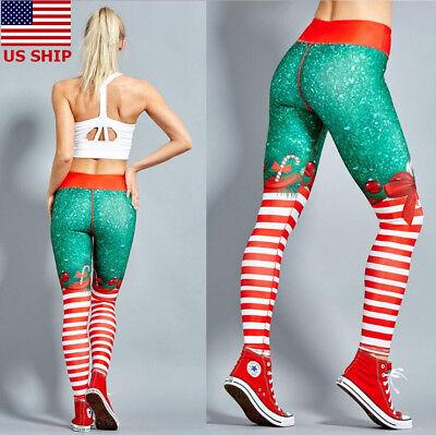 US! Womens Xmas Christmas Sports Casual YOGA Workout Gym Fitness Legging Pants - Womens Christmas Leggings