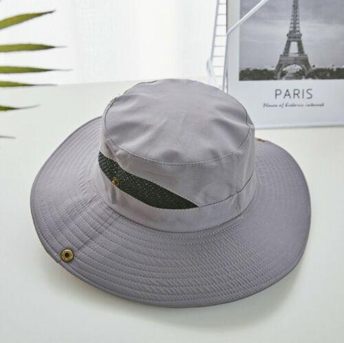 Men Big Wide Brim Bucket Hat UPF 50 Sun UV Protection Hiking Fishing Boonie Cap