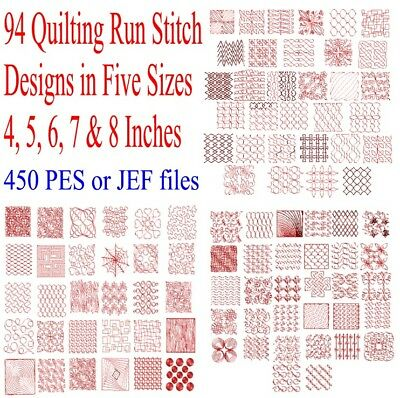 Machine Embroidery Stitches - 450 PES JEF Quilting Machine Run Stitch Embroidery Files (94 Designs X 5 sizes)