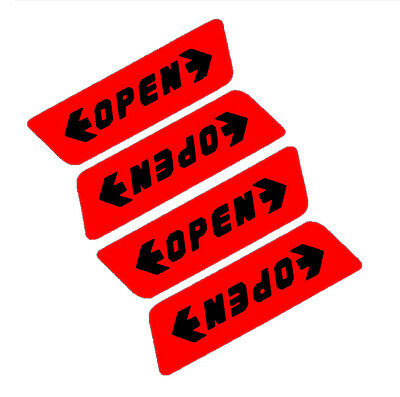 4 Pcs/Set Reflective Car Door Sticker Open Words Safety Warning Sticker&