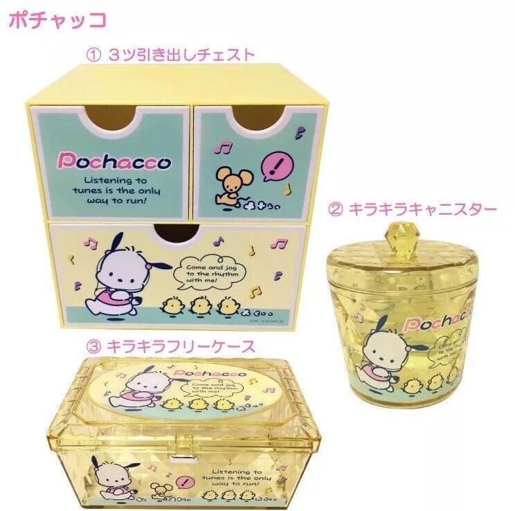 Sanrio japan 3 Container box set Pochacco cute Shelf canister shiny horo case