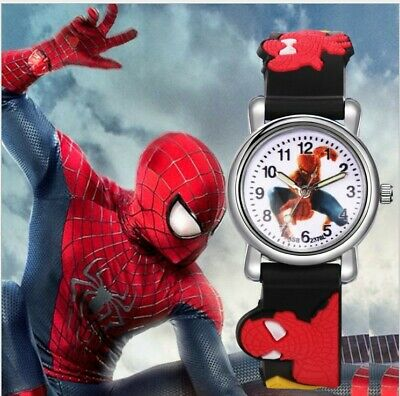 NEW Spider Man Cartoon Child Boys Kids Analog Quartz Wrist Watch Rubber + Badge
