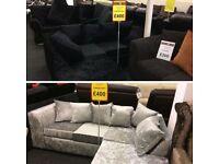 Corner crushed velvet sofa