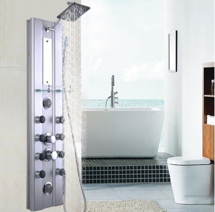 Bathroom Aluminum Shower Panel Thermostatic Tower with 10 Massage Jets 46 inch