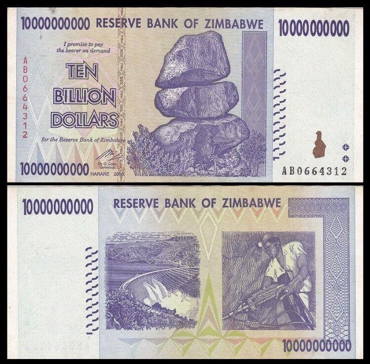 ZIMBABWE 10 Billion Dollars, 2008, P-85, 100 Trillion Series, World Currency