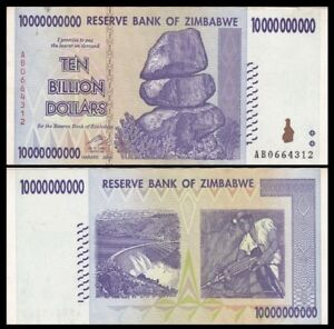 ZIMBABWE 10 Billion Dollars, 2008, P-85, World Currency, 100 Trillion Series