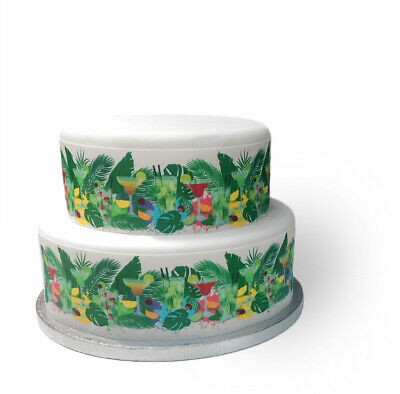Decor Icing Sheet Tropical Cocktails Drinks Border Edible Cake Topper Decoration