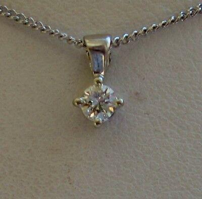 New .15ct Diamond Solitaire 9ct White Gold Pendant Necklace & Gold Chain £120
