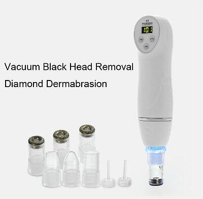 Digital Diamond Dermabrasion Pen Vacuum Black Head Removal Skin Peeling 6 Tips
