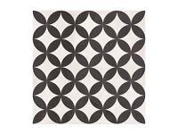 Bertie Black & White British Ceramic Tiles 33x33cm 1 and half boxes 14 tiles